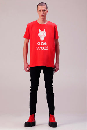 One Wolf logo T-Shirt red/white - One Wolf