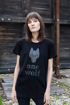 One Wolf logo T-Shirt black/black gloss - One Wolf
