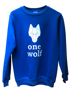 ONE WOLF LOGO sweater blue/white logo - One Wolf