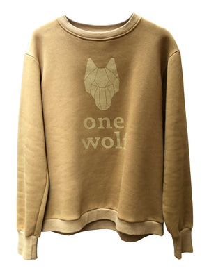ONE WOLF LOGO sweater camel - One Wolf