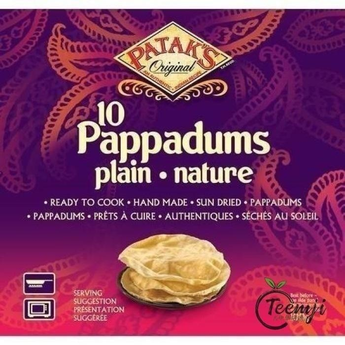Pataks Pappadums Plain Flavour 100G Rice/dried