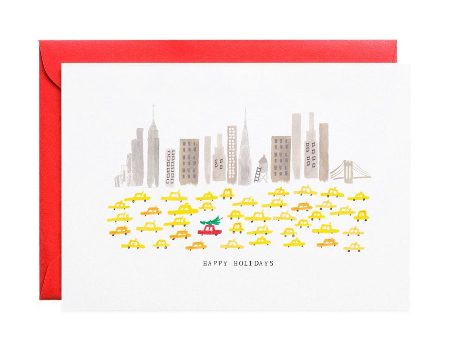 Tree on Taxi Cab Holiday Greeting Card