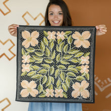 Load image into Gallery viewer, Amy Hemlock peach Floral Bandana held by smiling woman