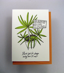 Plant Care Instructions Greeting Card