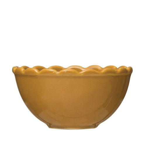 Stoneware + Mustard +  Scalloped Bowl