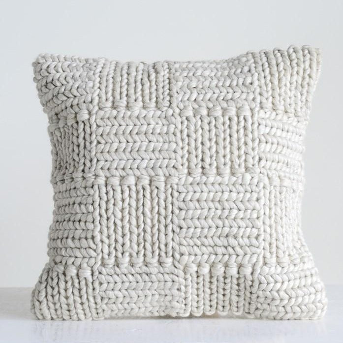 Cream Knit Wool Blocks Pillow