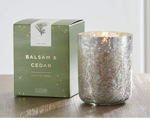 Illume Balsam & Cedar Small Luxe Sanded Mercury Glass Candle