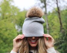 Load image into Gallery viewer, Fur Pom Slouchy Knit Beanie