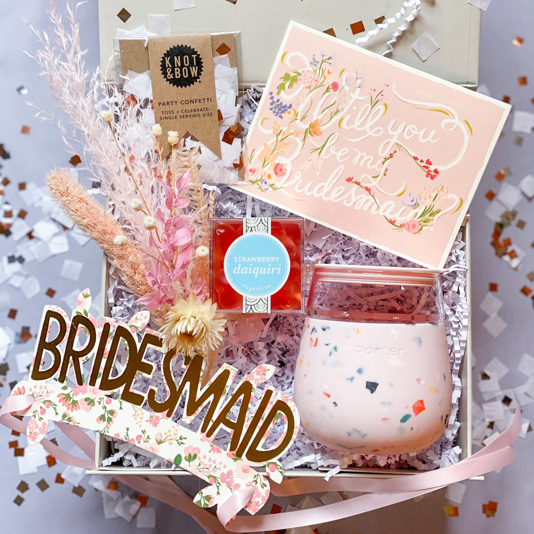 Will you be my Bridesmaid Gift Box with Card, Strawberry Daiquiri Gummy Hearts, Terrazo Port Tumbler, Bridesmaid gold foiled crown, dry bouquet, and confetti
