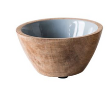 Load image into Gallery viewer, Round Enameled Mango Wood Bowl