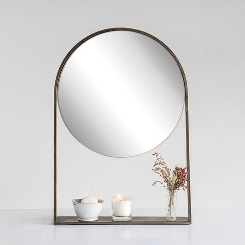 Wall Mirror with shelves and vase decor