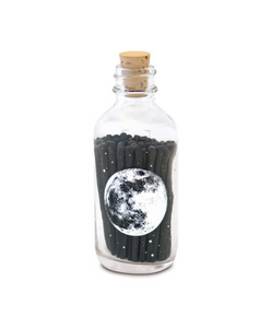 Skeem apothecary match bottles are a sophisticated and updated option for storing your matches, featuring a silk-screened design of moon and it's craters and cork lid