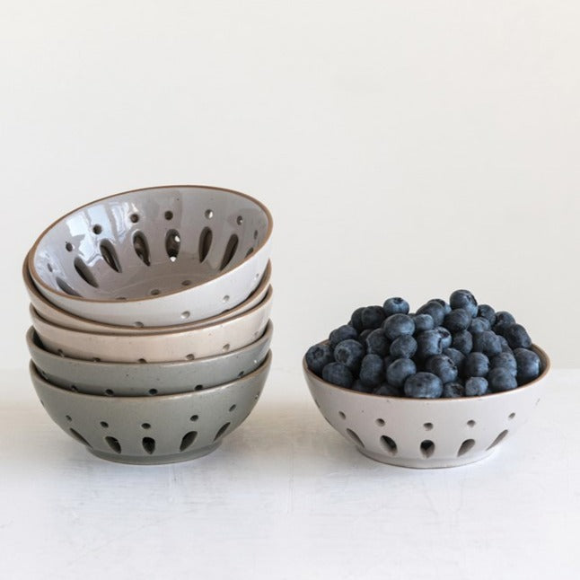 Stack of Stoneware Glass Berry Bowls with Blue Berries