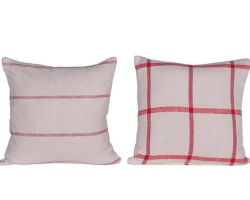 cozy up and add some holiday cheer with these stripe and checker brushed cotton pillows!