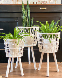 White Woven Bamboo Basket Stands