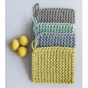 Cotton Crocheted Pot Holders in Pale Blue, Lemon twist, seafoam, + Light Grey