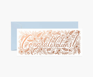 Champagne Floral Congratulations Greeting Card