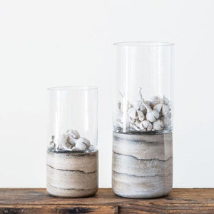 Marble Finish Stoneware Tealight Holder with Glass Hurricane