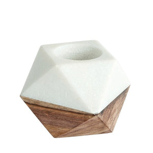 Geometric Marble & Wood Tealight Holder