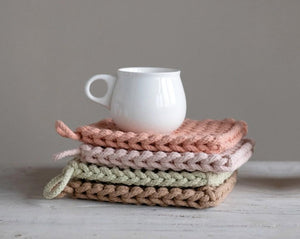 "8"" Square Cotton Crocheted Potholders Stacked with mug on top"