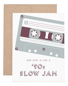 90s Slow Jam Love Greeting Card with mixtape illustration