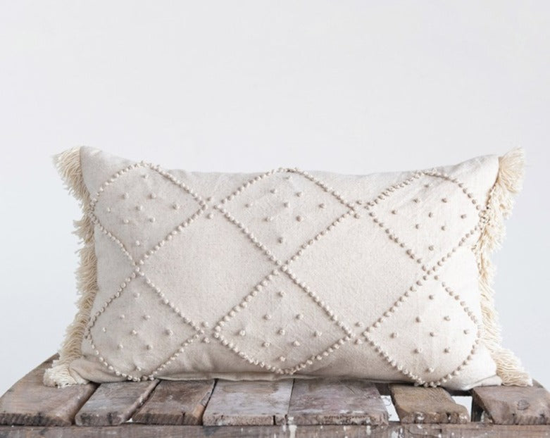Cream French Knot & Fringe Pillow