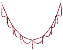 "Load image into Gallery viewer, Wood Bead Garland Swag in Red is 72"" Long"