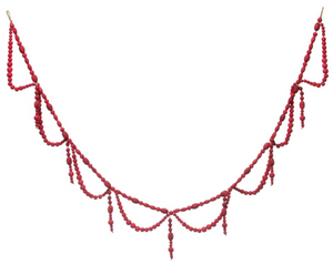 "Wood Bead Garland Swag in Red is 72"" Long"