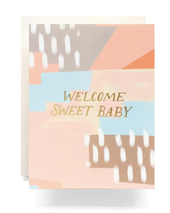 """Welcome Sweet Baby"" Card, featuring abstract color blocking art."