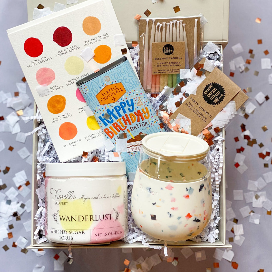Birthday Box Full of Chocolate, Birthday Candles, Single Serving Confetti, Body Scrub, and Porter Terrazzo Tumbler