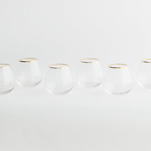 Sleek + Classic,  These Clear + Gold Stemless Wine Goblets  will certainly make you smile & enjoy the beverage of your choice in these stemless glasses.