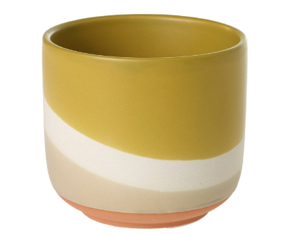 The Colorway Pots has a wave of three colors - Sand, Cream, and mustard yellow