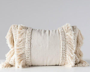 Creamy Cotton Chenille Lumbar Pillow with Beautiful Fringe + Round Fabric notches, making basic beige a fun neutral.