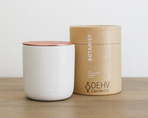 herbaceous. natural. refreshing. DEHV candles are ethically created and hand poured into concrete vessels with a metal copper lid- Everything is reusable!.. Use the lid for a coaster, use the conreate vessel after burning as a pot for a little plant!