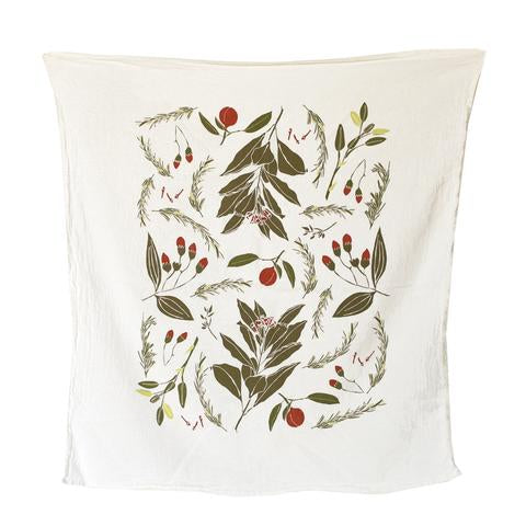 Festive Flavors towel features a pattern of botanical fall and winter herbal flavors like nutmeg, cinnamon, rosemary, and clove.  Screen printed on flour sack cotton to preserve its uniquely soft, absorbent and durable nature, this towel is machine washable and safe to bleach allowing it to hold up in the busiest kitchens.