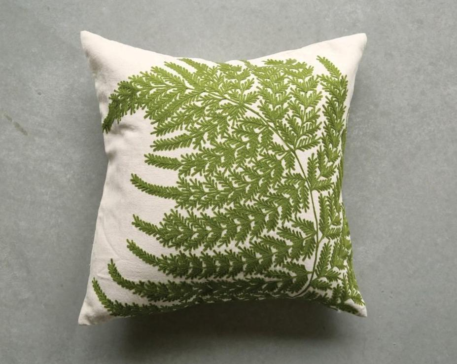 Embroidered Fern Fronds Pillow