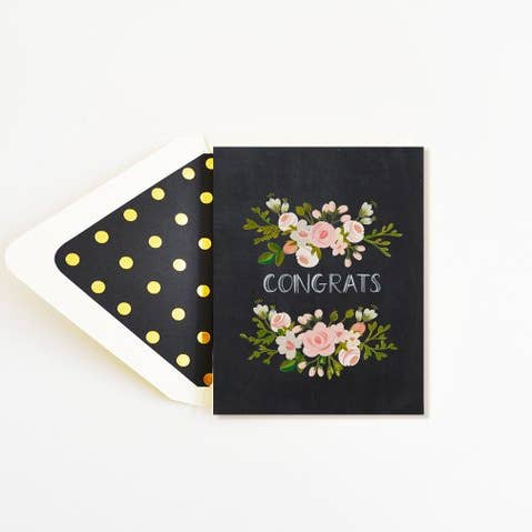 Say Congrats with this Charcoal and floral pop from First Snow.