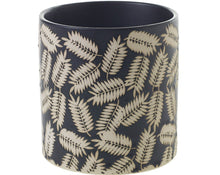 Load image into Gallery viewer, Inspired by modern foliage, the Folly Pot boasts a simple cylinder, elevated with a matte black glaze and stamped-leaf pattern.