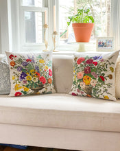Load image into Gallery viewer, Floral Embroidered Cotton & Linen Pillow
