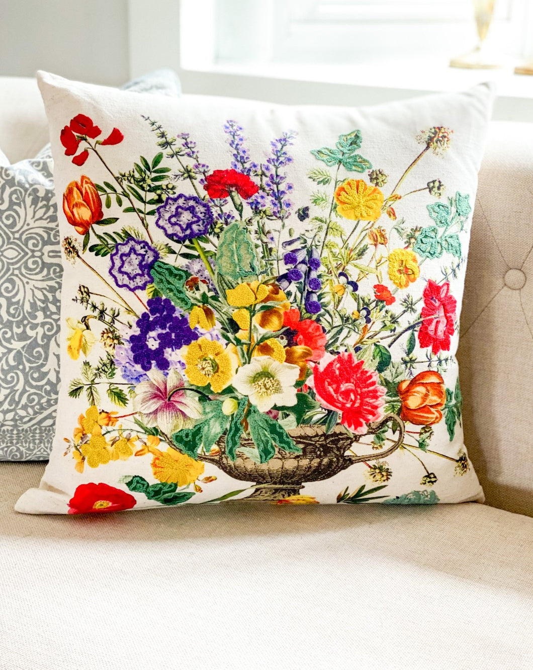 Floral Embroidered Cotton & Linen Pillow