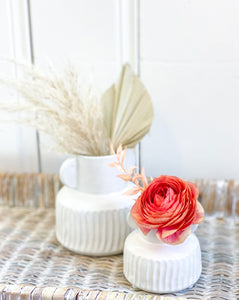White Pleated Bud Vases