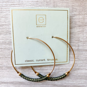 "flirty gold & Oyster Bead 2"" hoop"