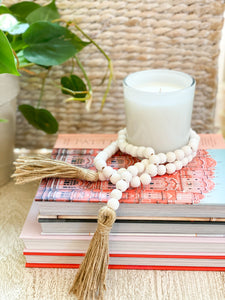 White Tassel Prayer Beads