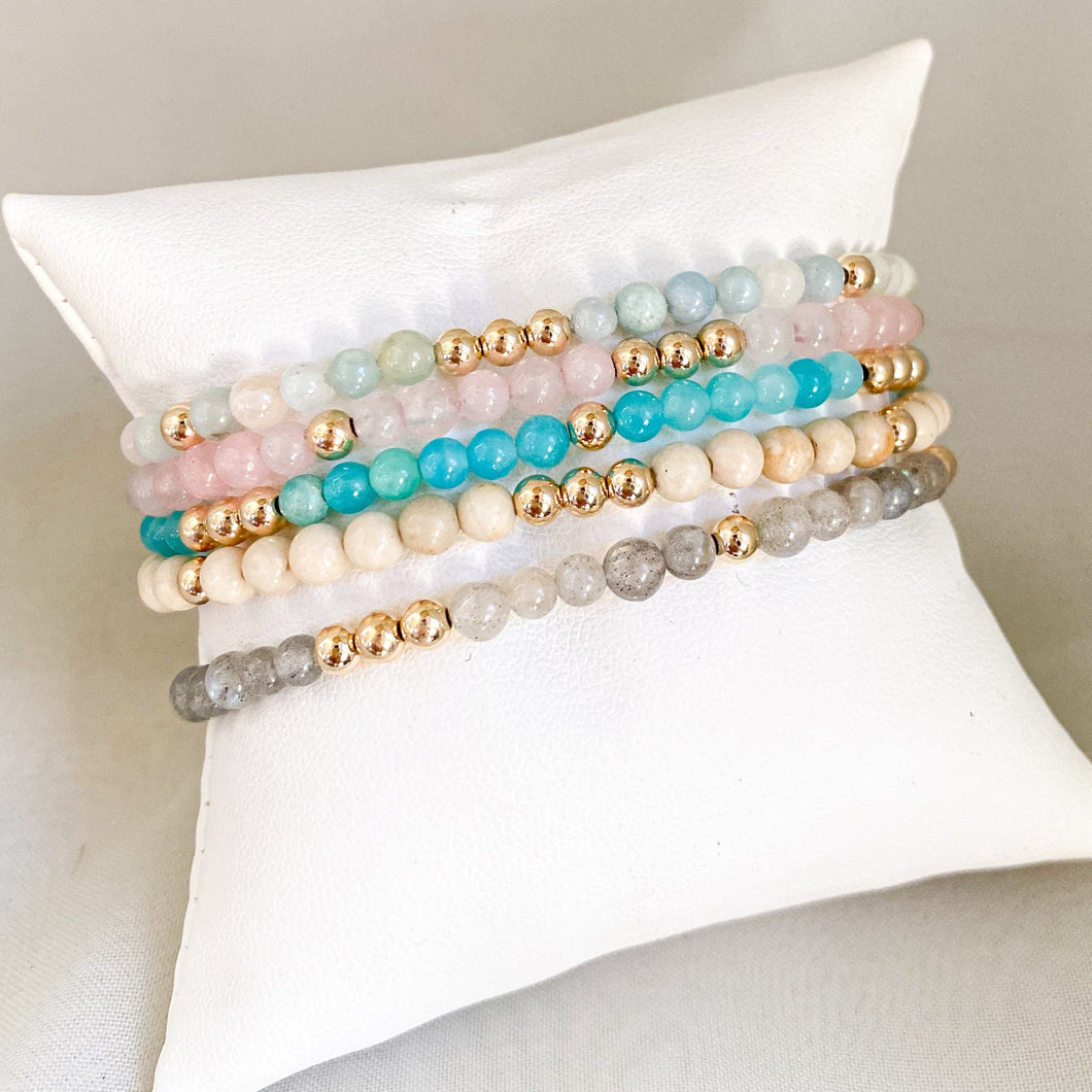Add some color to your bracelet stack with these E-newton Gemstone Bead Bracelets!