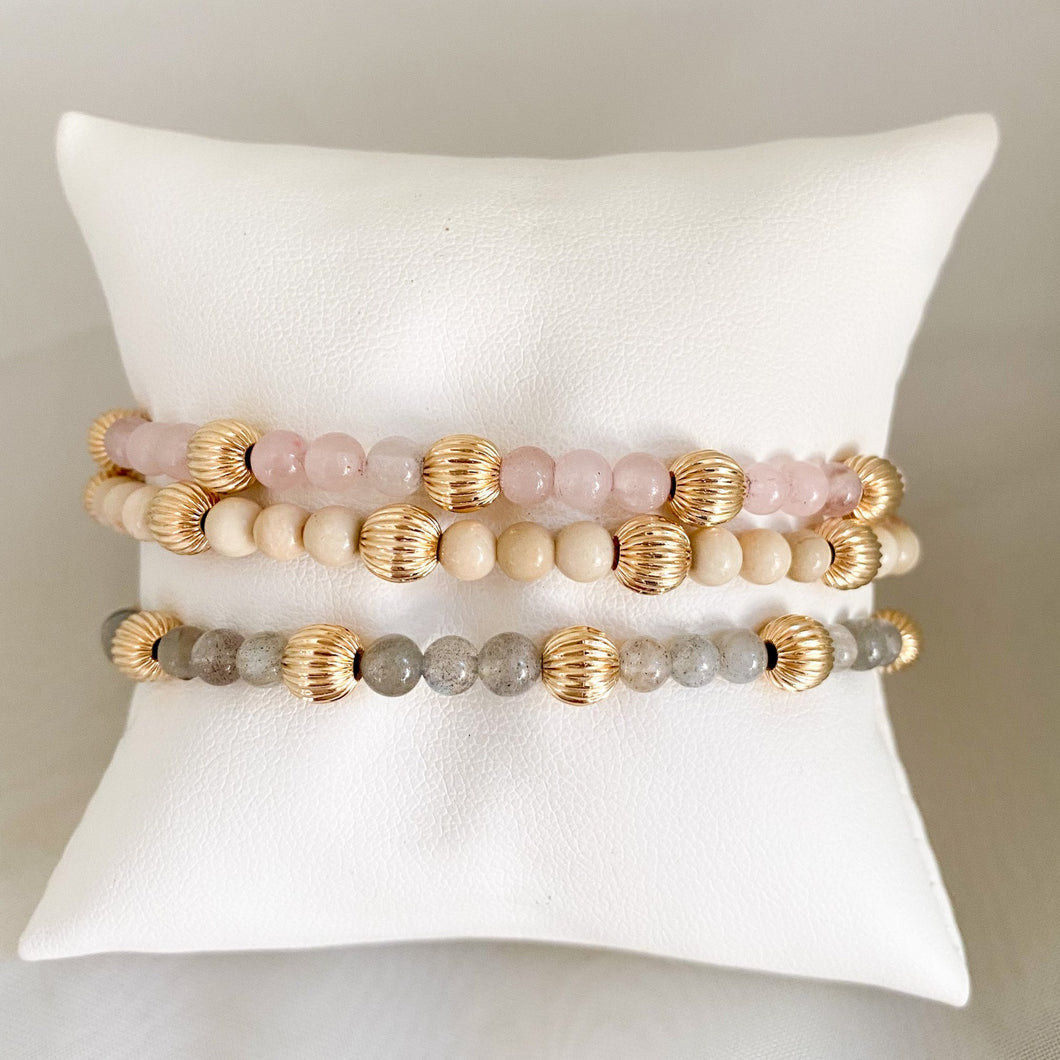 Sincerity 4mm Gemstone Pattern with Dignity Gold Bracelet