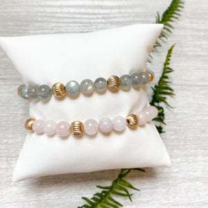 Sincerity Gemstone 6mm Bead with Dignity Gold Bracelet
