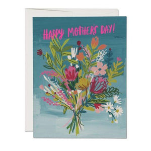 happy Mother's Day with this Beautiful Neon Bouquet of Flowers on blue backround