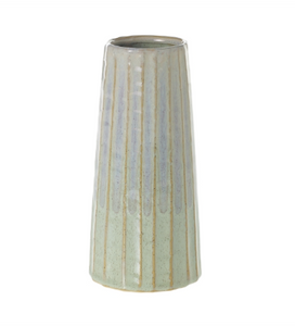 The Palm Vase is a stoneware piece in a stunning two-toned finish, with green reactive glaze layered with a purple glaze for a soft yet modern finish.