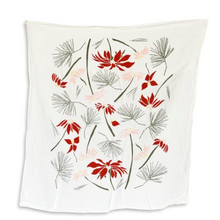 Load image into Gallery viewer, Featuring a pretty pattern of Poinsettia and Pine, this towel was designed to adorn your kitchen all year long but adds a simple touch for holiday.