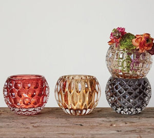 Pressed Glass votives in mustard, pink, amber, and dark charcoal